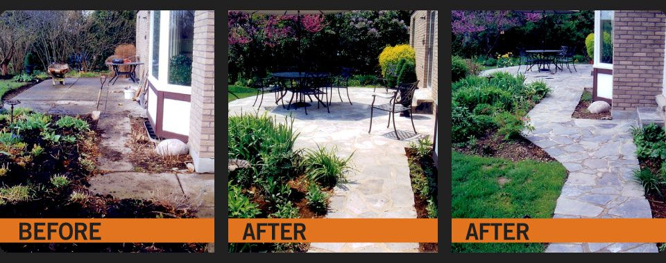 Before and After stone walkway repairs