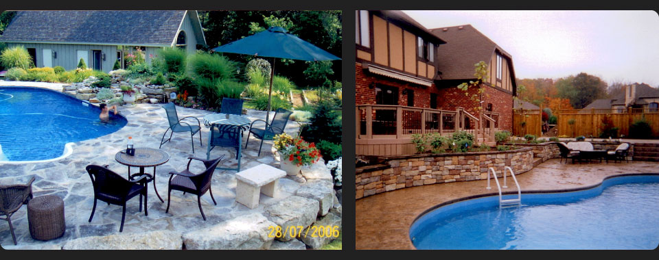 in-ground pool with flagstone